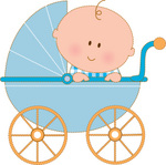 Caucasian Baby Boy In A Blue Stroller Carriage, Looking Over The Side Clipart Illustration